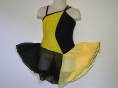 ICE SKATING DRESS Competition Figure Skate Yellow & Black w Crystals Child S #FlyingCamelDesigns