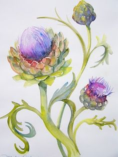 Image result for artichoke flowers painting