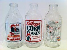 Vintage Milk Bottle Advertising Breakfast Cereal Kellogg's Corn Flakes via Etsy