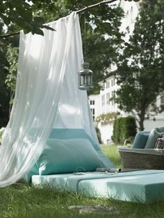 Run out of beds inside? This is perfect for summer nights! The tented chaise - Drape a sheet or mosquito netting over a branch or clothes line and an instant intimate hideaway!