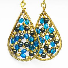 Color Beaded Teardrop Earrings