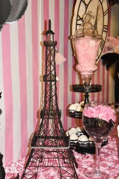 Pink and black Paris birthday party! See more party ideas at CatchMyParty.com!