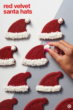 Santa is coming for his hat. Try this recipe and put it on a plate with a glass of milk or serve at a holiday party. Decorating these cookies is an easy DIY Christmas project for kids. by Sedekia Christmas Deserts, Noel Christmas, Christmas Goodies, Holiday Desserts, Christmas Candy, Holiday Treats, Holiday Baking, Christmas Recipes, Holiday Fun