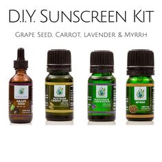 DIY PACK - Natural Sunscreen with Sunburn Aid & Skin Astringent - Grape seed, Austrian Carrot Seed, Kashmir Lavender, and Myrrh +1 Empty Boston Round