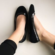 Black Flats Black flats with silver sparkle detail. Size 8 1/2. Lower East Side Shoes Flats & Loafers