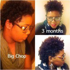 3 months post big chop! My natural hair journey. Natural hair growth. Perm rod set. Frohawk. TWA