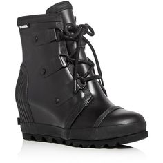Sorel Joan Rain Lace Up Wedge Booties ($175) ❤ liked on Polyvore featuring shoes, boots, ankle booties, black, lace up boots, wedge heel boots, wedge ankle booties, rubber boots and black lace up booties