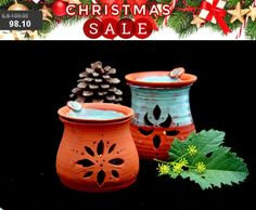 Christmas Oil Burner handmade ceramic oil diffuser aromatherapy scent diffuser , leaf lantern yoga gift meditation room creative gifts by PotterPainter on Etsy