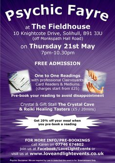 Psychic Fayre at The Fieldhouse Solihull on 21st May