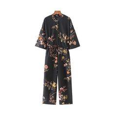 45167777063 Buy Women Vintage Floral Jumpsuits Wide Leg Pants Floral Print Belt Elastic  Waist Pockets Rompers Female