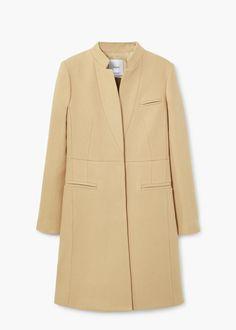 Wełniany płaszcz z kieszeniami | MANGO