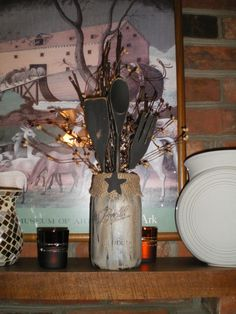 Hand Painted Quart Jars With Wooden Utensils Pip Berries and Lights.