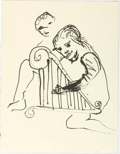 Image of Untitled (Figure and harp) 1985.