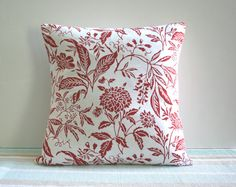Red Floral Scroll Pillow by CariJoyDesigns on Etsy