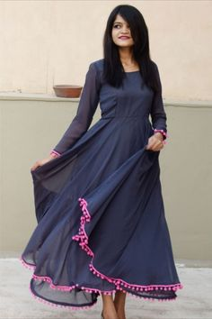 Description: It has 1 Piece of Women's Gown Fabric: Polyester Neckline: Round Neck Sleeves: Sleeves Pattern: Solid Product Type : Maxi Color: Dark Blue Occasion: Casual Length: 52 in Sizes (Inches): Designer Salwar Suits, Designer Gowns, Buy Dress, Pink Dress, Ethnic Gown, Western Wear For Women, Whatsapp Messenger, Jacket Dress, Indian Dresses