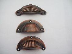 Ironmongery World Florentine Bronze Cast Iron Cup Pull Cupboard Kitchen Drawe. Kitchen Drawer Handles, Door Pull Handles, Door Pulls, Kitchen Cupboards, Copper Handles, Cast Iron, Doors, Knob, Kitchens