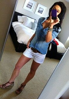 Just my style! Soft chambray shirt, white shorts, brown belt and wedges! Spring/Summer 2016 - Stitch Fix Summer Wear, Spring Summer Fashion, Spring Outfits, Summer 2016, Summer Outfits Women 30s, Japan Summer, Winter Fashion, Mode Outfits, Casual Outfits