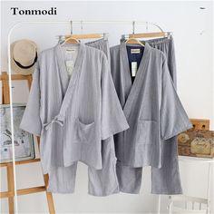kimono sleepwear Men 100% cotton gauze three quarter sleeve stripe japanese style Men's Sleep Lounge kimono Pajama set