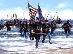 13 January 1865, Confederate Point, Landing at Fort Fisher, by John Paul Strain.