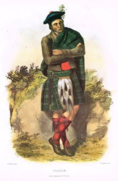 "Clans & Tartans of Scotland by McIan - ""GRAHAM"" - Lithograph -1988"