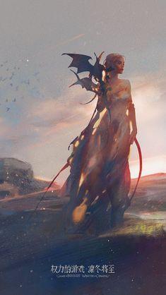 Game of Thrones - Daenerys Targaryen Game Of Thrones Artwork, Game Of Thrones Dragons, Game Of Thrones Fans, Drogon Game Of Thrones, Daenerys Targaryen Art, Game Of Throne Daenerys, Khaleesi, Game Of Throne Poster, Game Of Thrones Illustrations