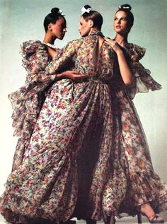 Apollonia, Pat Cleveland  and Pat Dow by Bugat for Vogue Italia, 1972. Dresses by Lancetti.