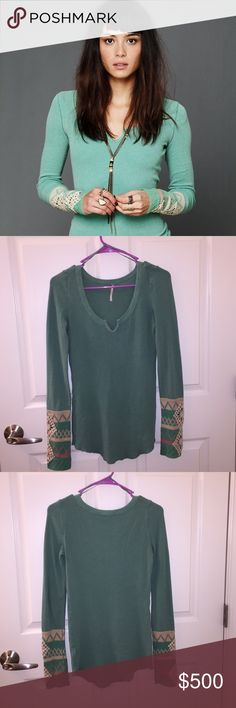 Free People Mint Kombucha Thermal 💞💞💞💞💞This  has been hanging in my closet and I've found an XS instead. I've only seen one pull on a cuff and some minor pilling which I've seen on kombs before (cuffs and neck). See pictures for details. The pilling could be razored off, but I'll be honest, I'm too lazy to do it myself LOL.  🦄🦄🦄🦄🦄🦄🦄 Free People Tops Tees - Long Sleeve