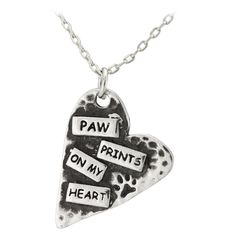 Paw Prints On My Heart Pewter Necklace