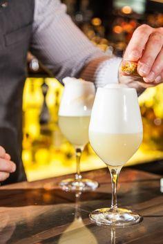 hawksworth restaurant's shotgun wedding: hennessey vs cognac, zwack apricot brandy, fresh lemon, egg white, charged with gold flakes Canadian Cuisine, Rosewood Hotel, Alcoholic Drinks, Cocktails, Shotgun Wedding, Flakes, Fine Dining, Bartender, Craft Beer