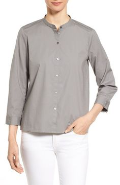 Eileen Fisher Mandarin Collar Organic Cotton Shirt (Regular & Petite)