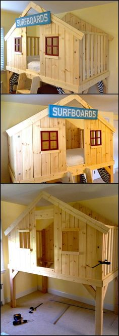 How To Build A Clubhouse Bed  http://theownerbuildernetwork.co/f6s5  This is a bed the kids will love and the parents will have interesting time making :-P  With a little bit of tweaking it could be turned into a castle, a tree house or anything else the kids would like.  Isn't this a great project for the kids?