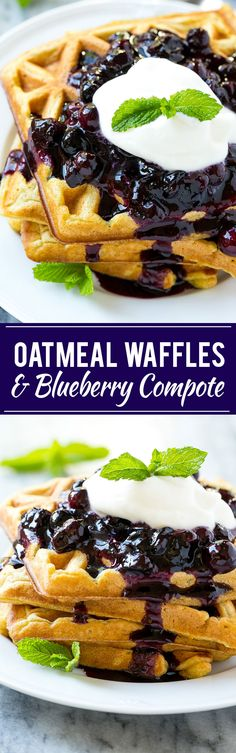 Oatmeal Waffles & Blueberry Compote - This recipe for oatmeal waffles is a breakfast delight of light and fluffy waffles topped with a homemade blueberry compote. There's a secret ingredient that adds a boost of nutrition! Oatmeal Waffles, Breakfast Waffles, What's For Breakfast, Breakfast Dishes, Breakfast Recipes, Fluffy Waffles, Vegan Oatmeal, Morning Breakfast, Waffle Toppings