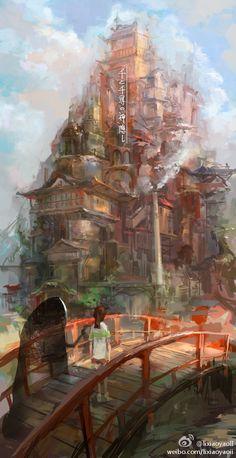 千と千寻の神隠し by lixiaoyaoII Spirited Away - Studio Ghibli - Miyazaki Arrt Hayao Miyazaki, Studio Ghibli Art, Studio Ghibli Movies, Film Anime, Anime Art, Film Animation Japonais, Chihiro Y Haku, Film D'animation, Howls Moving Castle