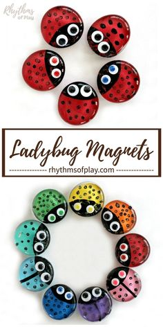 Ladybug Magnets CraftThanks moogly for this post. Learn how to make this cute ladybug magnets craft in a rainbow of colors with this fun and easy glass gem refrigerator magnet craft tutorial. Ladybug magnets are a fun craft an# Craft Yarn Crafts For Kids, Easy Arts And Crafts, Craft Projects For Kids, Arts And Crafts Projects, Fun Crafts, Simple Crafts, Resin Crafts, Craft Ideas, Craft Activities