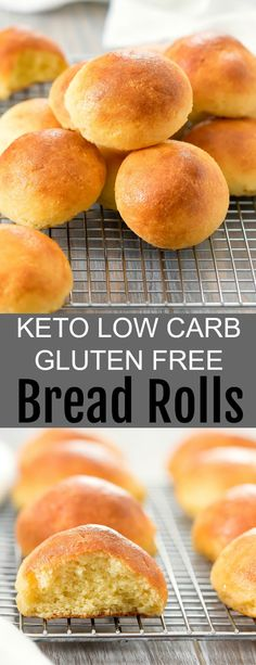These fluffy bread rolls are keto, gluten free, and low carb. They are great on their own or for sliders and sandwiches. These fluffy bread rolls are made with fathead dough. They are gluten free, low carb and keto friendly. Lowest Carb Bread Recipe, Low Carb Bread, Low Carb Diet, Gluten Free Bread Rolls Recipe, Carb Free Bread, Low Carb Biscuit, Calorie Diet, Low Carb Appetizers, Appetizer Recipes