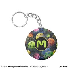 Modern Monogram Multicolor Pickleball Keychain