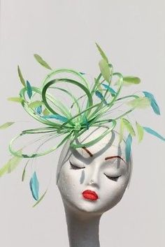 New Lime green & Turquoise Feather fascinator hat Ascot