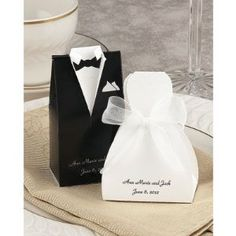 Personalized Gown and Tux Wedding Favor Boxes