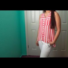 NWOT Coral and White striped top Sheer and adorable! Longer in the back. Mint condition. Price firm unless bundled.  •No Trades• Forever 21 Tops Button Down Shirts