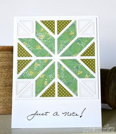handcrafted quilt card from Marybeth's time for paper ... pieced die cut quilt block ... use of color creates a cross ... great card!