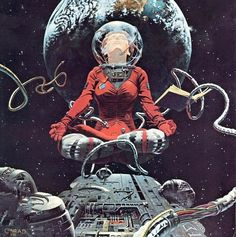 Ideas for back tattoo: Meditating, reading space walking astronaut.   sciencefictiongallery: Conrad, 1982.