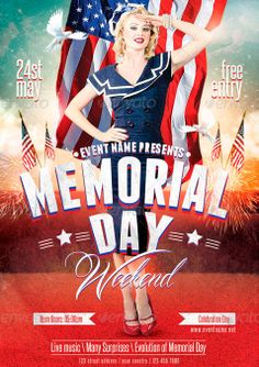Memorial Day Flyer Template - http://www.ffflyer.com/memorial-day-flyer-template-2/ Memorial Day Flyer Template – perfect for your July 4th or other patriotic themed event. Organized and color coded layers make it easy to edit with your information.  #Celebration, #Club, #Dj, #Electro, #Event, #Lounge