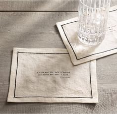 """RH's Literary Quote Cocktail Napkin Set, Oscar Wilde:The musings of great minds enliven any gathering. Emblazoned with quotes from giants of literature, our cocktail napkins place food for thought at hand, banishing small talk and deftly reviving the art of conversation. A set includes four napkins, each printed with a different quote.Quotes:– """"Be yourself; everyone else is taken."""" – """"Bigamy is having one wife too many. Monogamy is the same."""" – """"I like m..."""