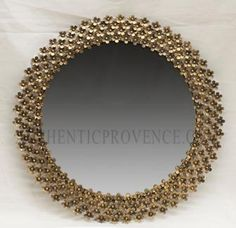 """MIRROIR FLEURI  FRANCE  ROUND MIRROIR DECORATED WITH BANDS OF SMALL FLOWER DÉCO  METAL, HANDMADE   27""""h x 27""""w x 1""""d Bedroom Mirrors, Garden Accessories, Architecture Design, Wall Decor, France, Paris, Contemporary, Metal, Gold"""