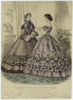 1862, 1 ballgown, 1 dress with jacket & bonnet; Revue des Modes et de Industrie de Paris fashion plate.