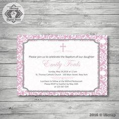Invitación para imprimir bautismo comunion niña invitación rosa confirmacion invitacion bautizo invitacion primera comunion COD11 de iscrapdesign en Etsy