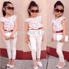 Cheap clothes for, Buy Quality fashion kids clothes directly from China kids clothes Suppliers: Europe 2016 Baby girls clothing set kids fashion clothes for summer toddler girls Floral prints lace top+white pants+belt Girls Summer Outfits, Little Girl Outfits, Little Girl Fashion, Fashion Kids, Summer Girls, Girls Dresses, Fashion 2015, Summer Baby, 2017 Summer
