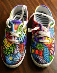 Zentangle sneakers, shoes, sneakers, zentangle art, original art, OOAK, custom sneakers, handpainted shoes. $32.00, via Etsy.