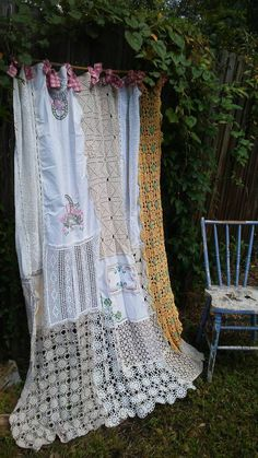 Shabby Chic Window Curtain/Vintage Crochet/Vintage Embrodery ...