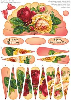 """Glorious Sunrise Roses Fan Sheet on Craftsuprint designed by Julene Harris - Stunning vintage artwork of red and yellow roses on a sunrise colored background. Included labels: """"Happy Birthday"""", """"Happy Mother's Day"""", and one blank label you can customize for any occasion. Please click on my name to view more of my designs - Now available for download!"""